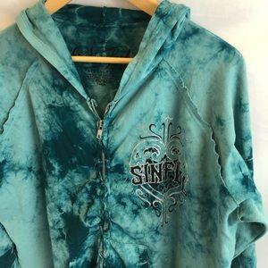 sinful affliction tie dye zip hoodie jacket XL A10